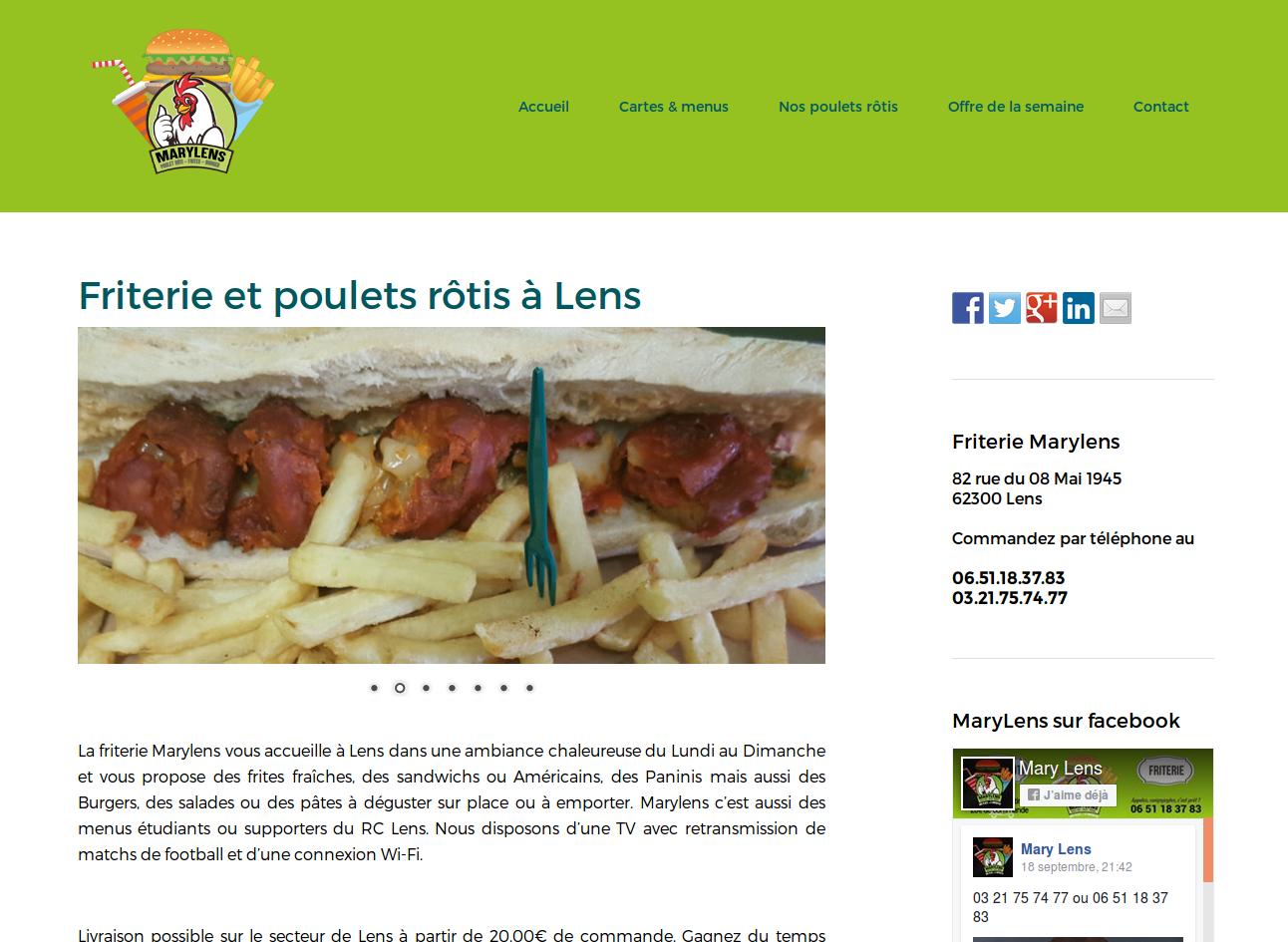 Site Internet de la friterie Marylens